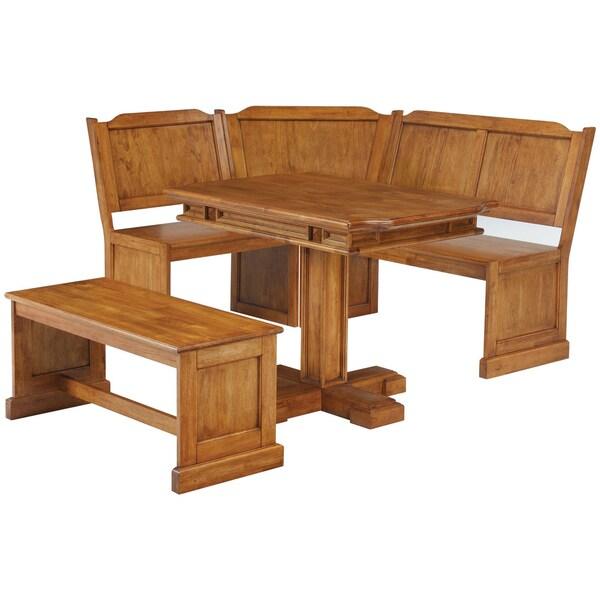 Corner Nook Dining Set Distressed Oak Finish