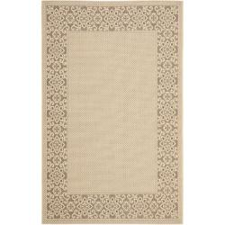 Poolside Cream/ Light Chocolate Indoor Outdoor Rug (6'7 x 9'6)