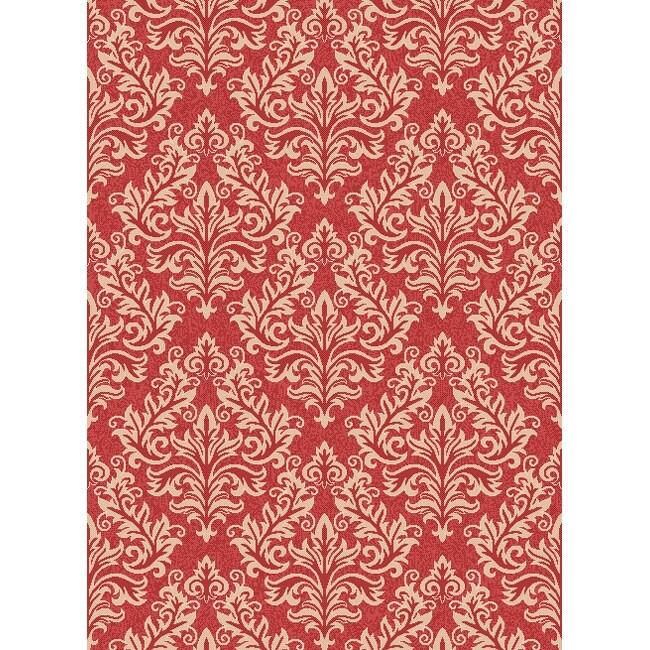 Safavieh Poolside Red/ Cream Indoor Outdoor Rug (8' x 11'2)