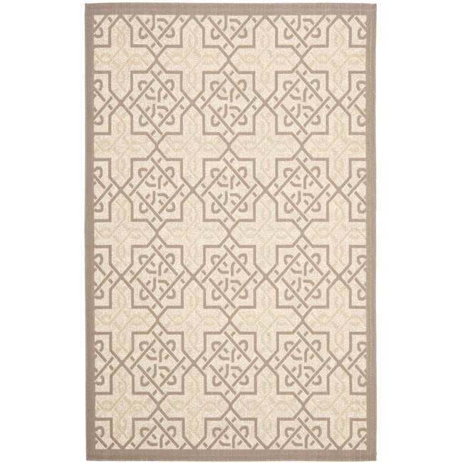Safavieh Poolside Beige/ Dark Beige Indoor Outdoor Rug (6'7 x 9'6)