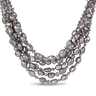 Miadora Cultured Freshwater Pearls and Glass 6-strand Necklace (18,19, and 20 in)