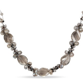 M by Miadora Pearl, Agate and Glass Necklace (16.5 in)