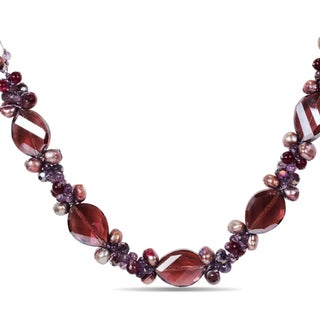 M by Miadora Pearl, Amethyst and Glass Necklace (16.5 in)