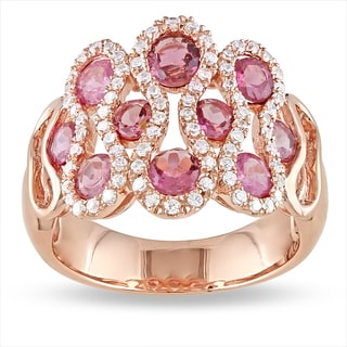 Miadora 18k Pink Gold Plated Silver 2 7/8 CT TGW Tourmaline and CZ Ring