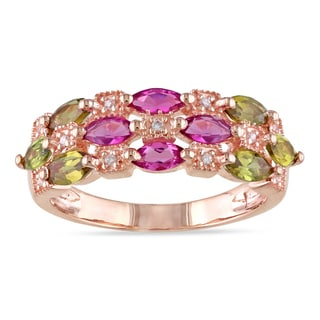 Miadora 18k Pink Gold Plated Silver 1 5/8 CT TGW Tourmaline and CZ Ring