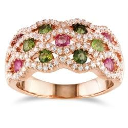 Miadora 18k Pink Gold Plated Silver 2 1/2 CT TGW Tourmaline and CZ Ring