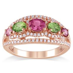 Miadora 18k Pink Gold Plated Silver 1 4/5 CT TGW Tourmaline and CZ Ring