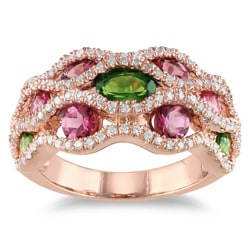 Miadora 18k Pink Gold Plated Silver 2 1/6 CT TGW Tourmaline and CZ Ring