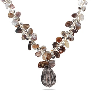 M by Miadora Pearl, Agate and Glass Fashion Necklace (18 in)