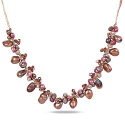 Miadora Silvertone Freshwater Pearl and Glass Bead Necklace (5-12 mm)