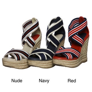 MIA Women's 'Renegade' Red Striped Wedges FINAL SALE