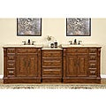 Silkroad Exclusive 95-inch Stone Counter Top Bathroom Vanity Lavatory Double Sink Cabinet