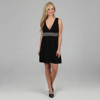 Stanzino Women's Black Rhinestone Sleeveless V-neck Dress