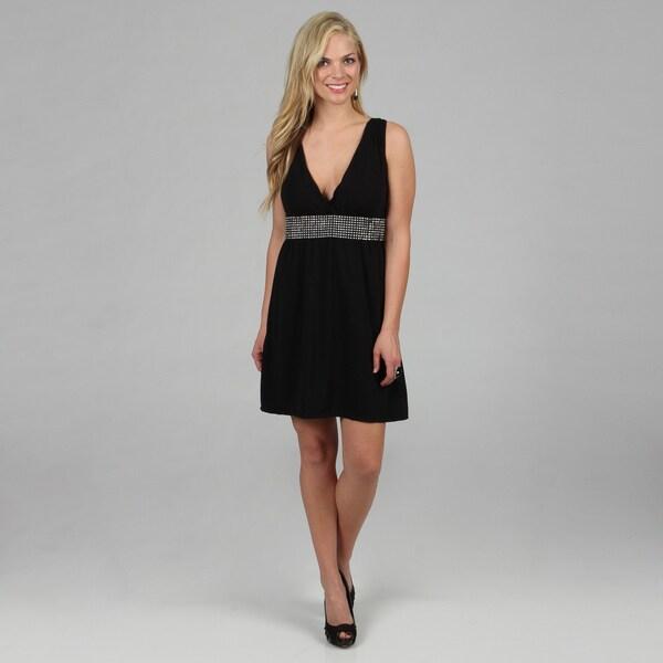 Stanzino Women's Black Rhinestone Sleeveless V-neck Dress