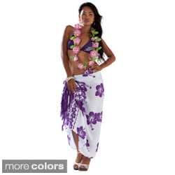 White and Multi-colored Batik Hibiscus Sarong (Indonesia)