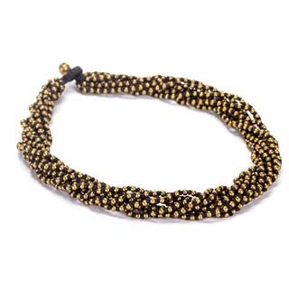 Thai-handicraft Goldtone Bead Cluster Necklace (Thailand)