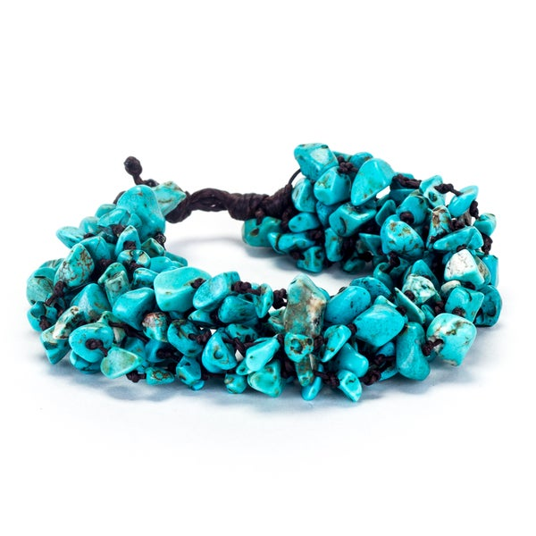 Thai-handicraft Turquoise Cluster Bracelet (Thailand)