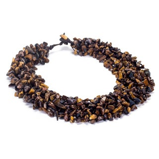 Thai-handicraft Tiger's Eye Cluster Necklace (Thailand)
