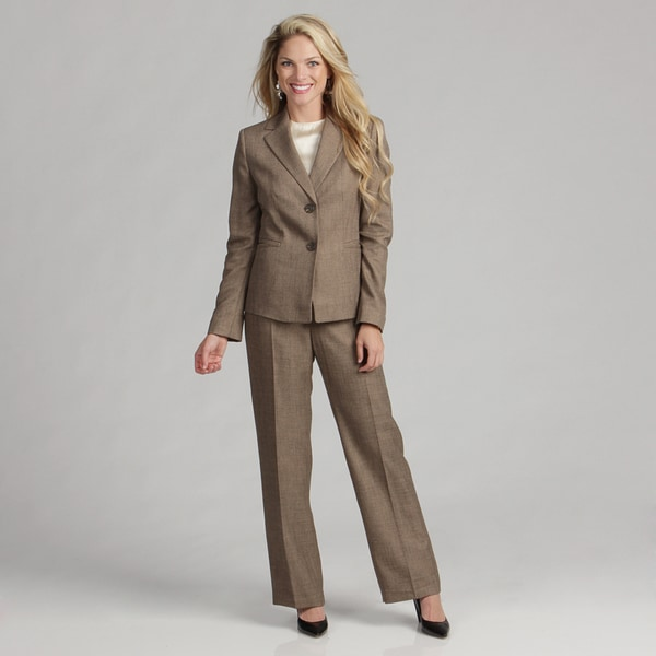 Evan Picone Women's Mocha 3-button Pant Suit