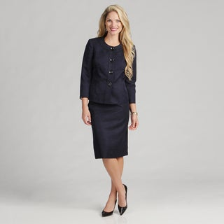 Evan Picone Women's Collarless 4-button Skirt Suit FINAL SALE