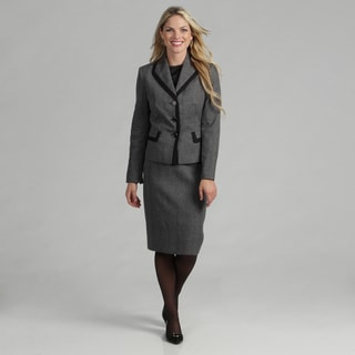 Evan Picone Women's Black/ White Plaid Skirt Suit