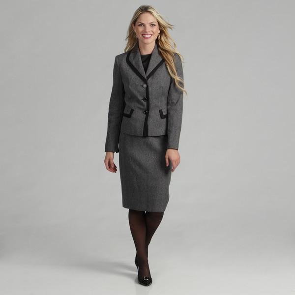 Evan Picone Women's Black/ White Plaid Skirt Suit