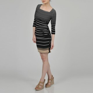 Sharagano Women's Black Graduated Stripe Dress