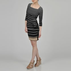 Sharagano Women's Black Graduated Stripe Dress