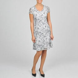 Sharagano Women's Floral Print Overlay Dress