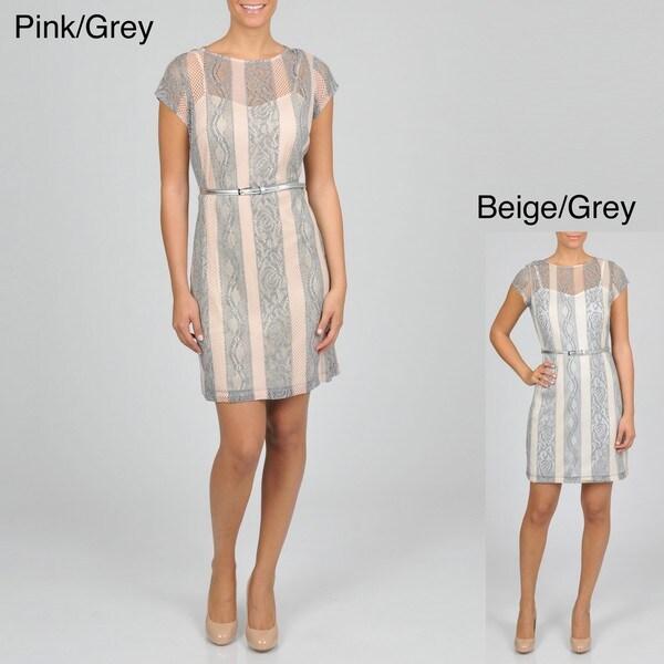 Sharagano Women's Lace Striped Dress