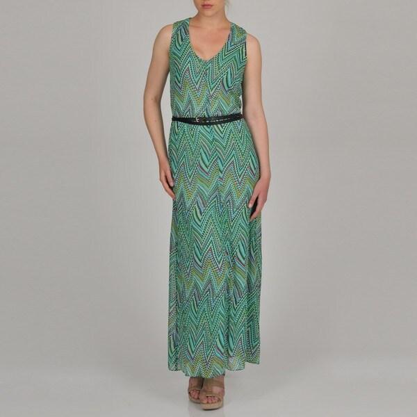 Sharagano Women's Geometric Zig Zag Print Belted Maxi Dress