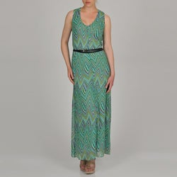 Sharagano Women's Geometric Zig Zag Print Belted Maxi Dress