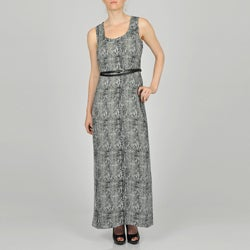 Sharagano Women's Reptile Print Belted Maxi Dress