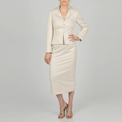 Signature by Larry Levine Women's Jacquard Column Skirt Suit
