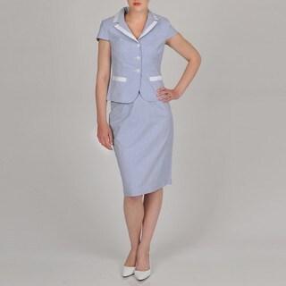 Signature by Larry Levine Women's Seersucker Skirt Suit