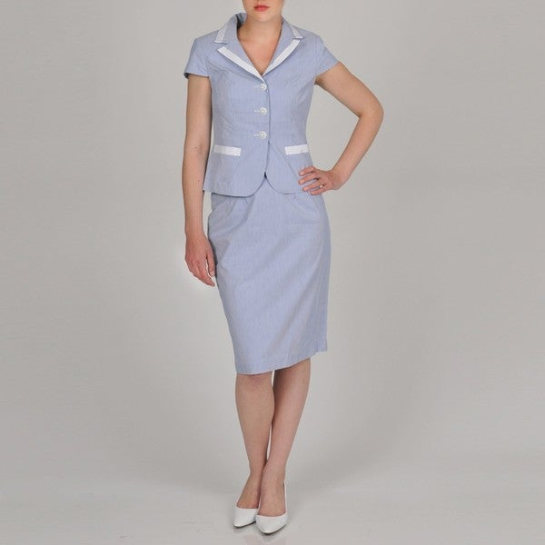 Signature by Larry Levine Women's Seersucker Skirt Suit