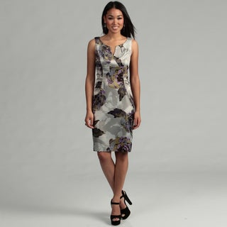 London Times Women's Grey/ Black Ruched Dress FINAL SALE