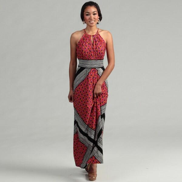 London Times Women's Black/ Tomato Keyhole Banded Waist Maxi Dress