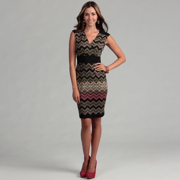 London Times Women's Zigzag V-neck Sheath Dress