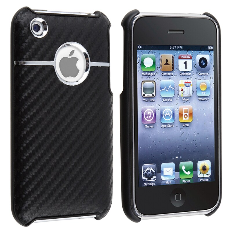 INSTEN Black Carbon Chrome Snap-on Phone Case Cover for Apple iPhone 3G/ 3GS