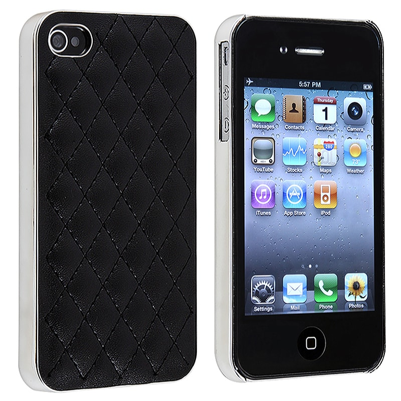 BasAcc Black Leather/ Silver Side Snap-on Case for Apple iPhone 4/ 4S