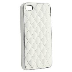 BasAcc White Leather/ Silver Side Snap-on Case for Apple iPhone 4/ 4S
