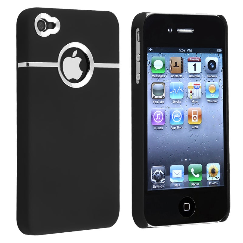 INSTEN Black/ Chrome Hole Rubber Coated Phone Case Cover for Apple iPhone 4/ 4S