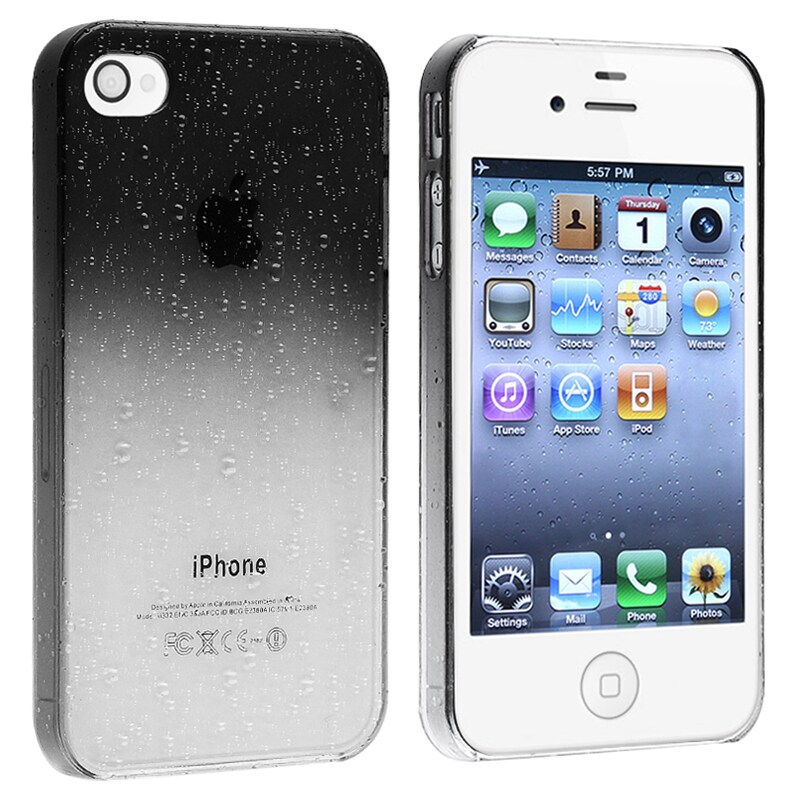 INSTEN Clear Smoke Water Drop Snap-on Phone Case Cover for Apple iPhone 4/ 4S