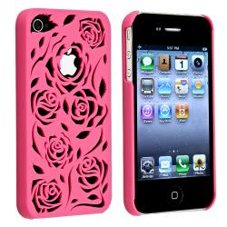 BasAcc Hot Pink Rose Snap-on Case for Apple iPhone 4/ 4S
