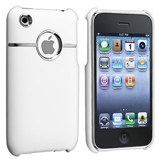 BasAcc White/ Chrome Hole Rubber Coated Case for Apple iPhone 3GS