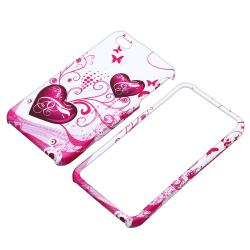BasAcc White/ Pink Heart Snap-on Case for Apple iPhone 4/ 4S