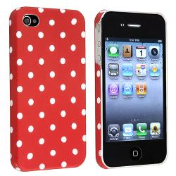 BasAcc Red/ White Dots Rubber Coated Case for Apple iPhone 4/ 4S