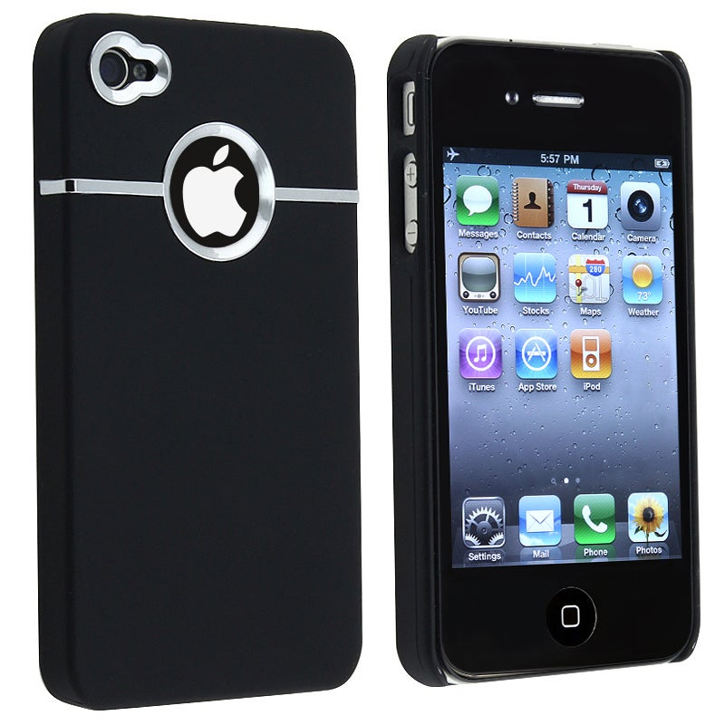 INSTEN Black Snap-on Rubber Coated Phone Case Cover for Apple iPhone 4 AT&T
