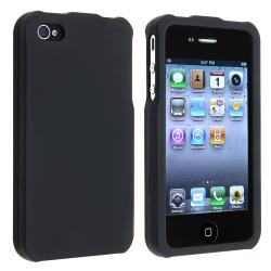 BasAcc Black Snap-on Rubber Coated Case for Apple iPhone 4/ 4S